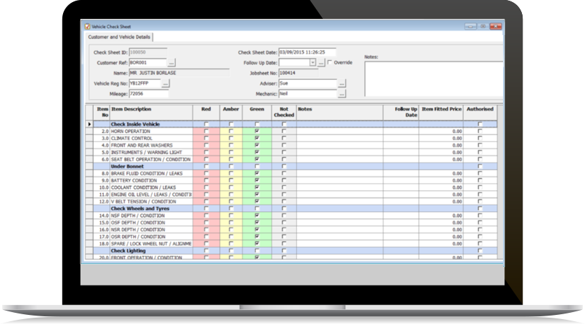 VHC Inspection Sheets Software